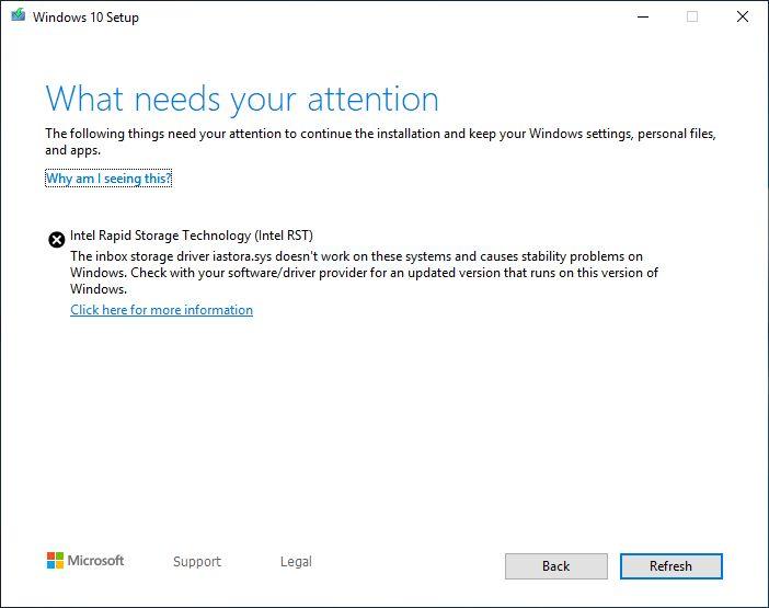 Windows 10 1903 Upgrade Fehlerbild